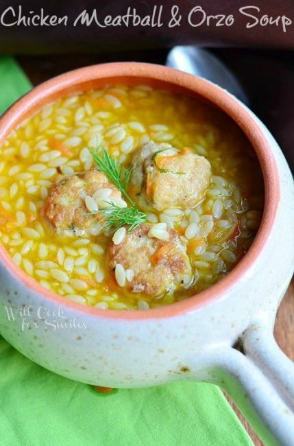 Chicken Meatball Orzo Soup  from willcookforsmiles.com #soup #chickensoup #orzo: