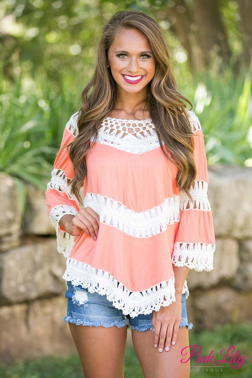Cool Glass Of Iced Tea Blouse Coral - The Pink Lily