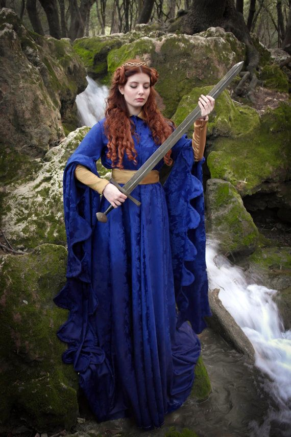 READY TO SHIP Medieval dress made in intense blue damask fabric. Houppelande style with long sleeves, dress is cut wide but fits waist with