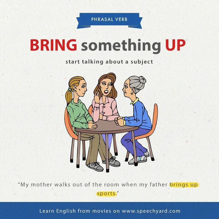 Phrasal verb 'bring something up'.