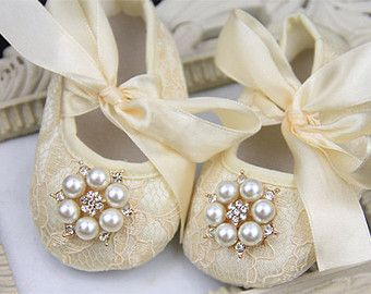 Baby girl ivory Shoes ,Baby Shoes,Baby Girl crib shoes, Christening, Baptism, Wedding, Ready to ship newborn baby girls shoes beige