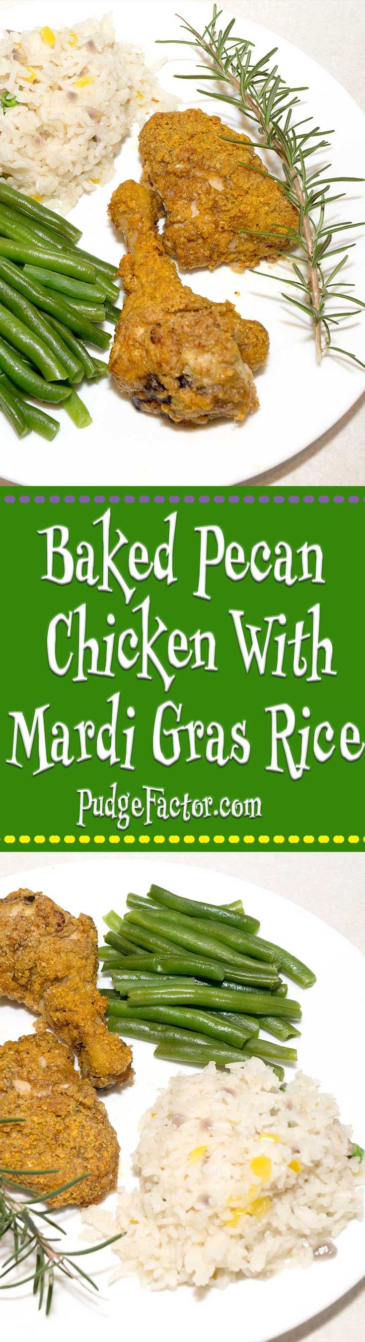 Baked Pecan Chicken with Mardi Gras Rice - succulent pieces of chicken coated in pecan meal served with flavorful rice. via @c2king