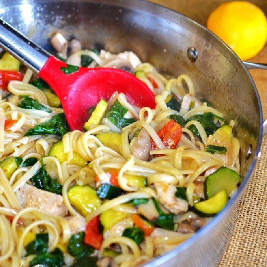 Sautéed vegetable and chicken pasta with a light sauce make a delicious healthy meal.