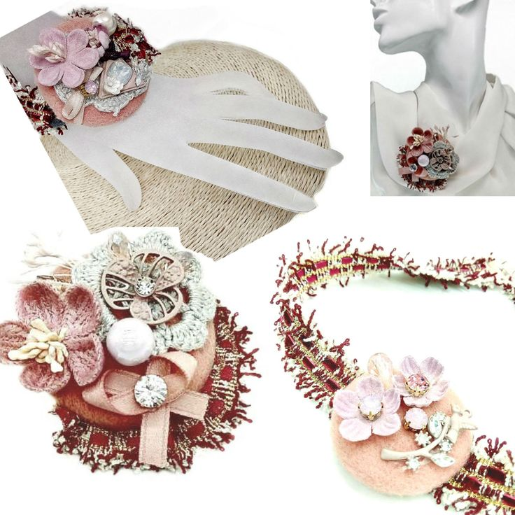 Pink Brooch Lapel Pin Necklace Bracelet Fabric Accessories Set Fashion Trend Jewelry Bow Tweed Charms Camellia Boho Christmas Gift for Woman
