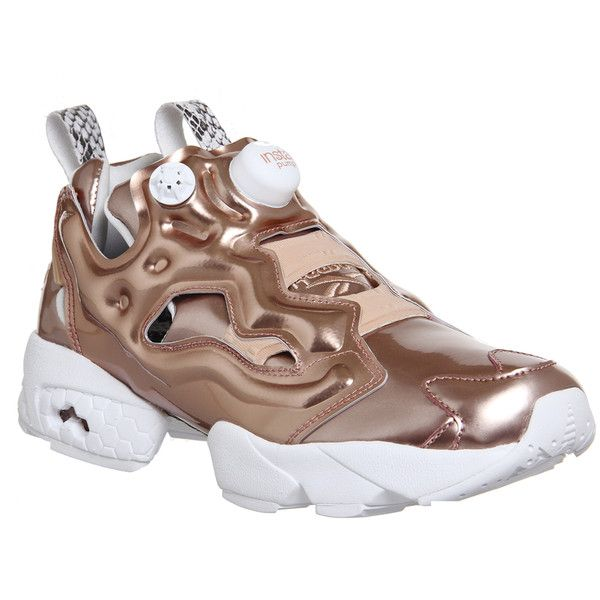 Reebok Insta Pump Fury ($170) ❤ liked on Polyvore featuring shoes, pumps, rose gold snake, trainers, unisex sports, sports footwear, reebok footwear, sports shoes, reebok pumps and snake pumps