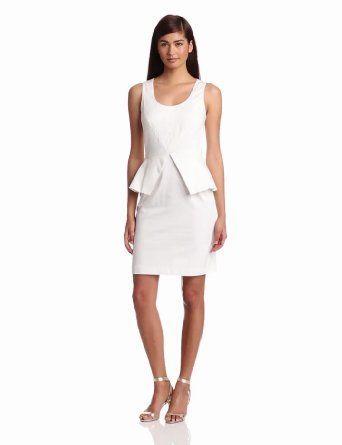 Vince Camuto Women's Sleeveless Peplum Dress, White, 4