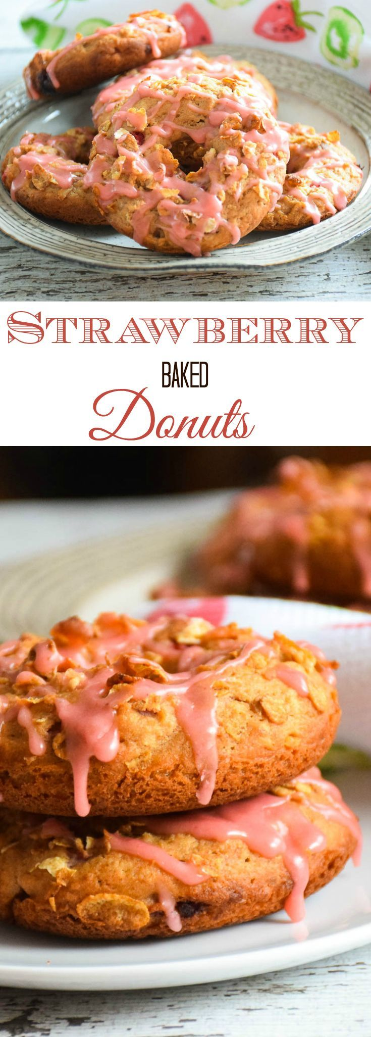 Strawberry Baked Donuts are a muffin recipe made in a donut shape and topped with cereal topping then drizzled with a fresh strawberry glaze! Made with @GreatGrains Crunch Pecan Cereal for your #spoonfulofgoodness #sponsored https://ooh.li/c72290a