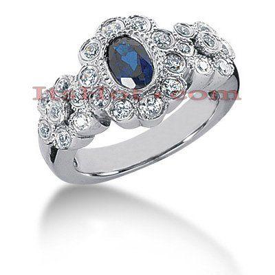 SHOP Antique Style Blue Sapphire Engagement Ring 14K 0.46ctd 0.50cts