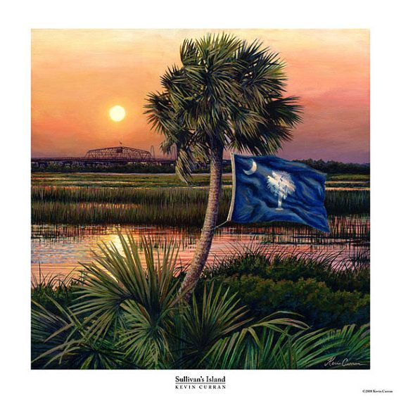 "Sullivan's Island by Kevin Curran - Fine Art Print - No Mat 20"" x 20"" (sent with foamboard backing) - South Carolina Flag, Marsh"
