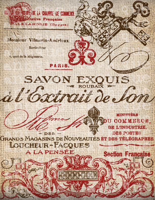 Antique SEPIA RED French Handwriting Fleur de Lis Digital Download for Tea Towels, Papercrafts, Transfer, Pillows, etc Burlap No. 2799. $1.00, via Etsy.