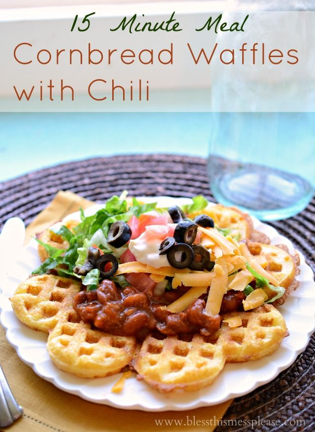 15 minute meal: cornbread waffles with chili