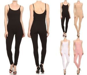 USA-MADE-COTTON-SPANDEX-SPAGHETTI-STRAP-CATSUIT-JUMPSUIT-ONE-PIECE-UNITARD-S-3X