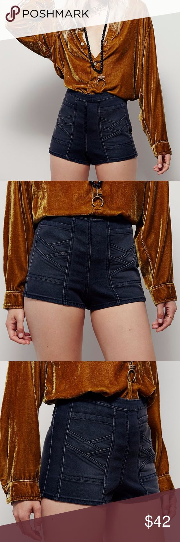 Free People Black Radar Love High Rise Shorts NWOT.  These high-rise black denim shorts feature a super stretch fabric for a tight-to-the body fit. Deep front pockets with stitched seam detailing for an elevated design. Side zip with hook-and-eye closure for an easy wear.  Material: 53% cotton, 23% rayon, 22% polyester, 2% spandex Free People Shorts Jean Shorts