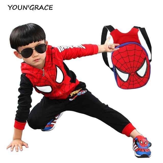 Fair price 2016 New Design Kids Spiderman Tracksuit with School Bag Fashion Boys Spring Cotton Spiderman Sports Suit Girls Sports Set, C171 just only $23.13 - 26.69 with free shipping worldwide  #boysclothing Plese click on picture to see our special price for you