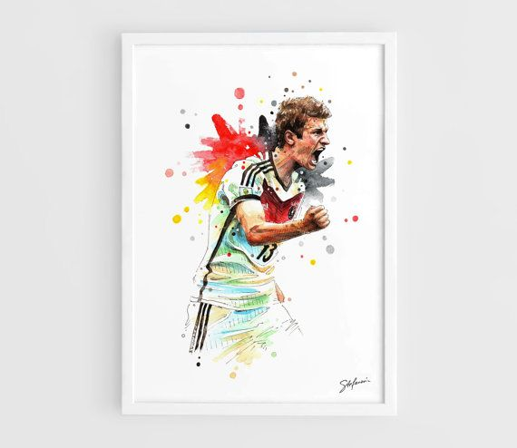 Thomas Muller (Germany national football team) FIFA World Cup Brasil 2014 - A3 Art Prints of the Original Watercolors Paintings