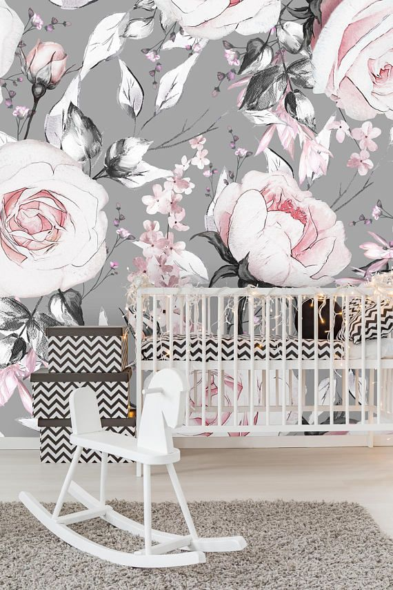 Removable Wallpaper Mural Peel Stick Watercolor Vintage Flowers On Gray Background Wallpaper Roll Peel Stick Wallpaper Colorful Wallpaper