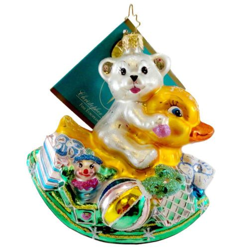 Christopher-Radko-ROCKIN-ARRIVAL-Glass-Ornament-Easter-Spring-Bear