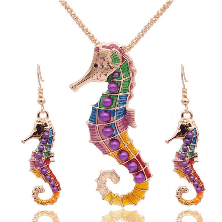 Enamel Sea Horse Jewelry Sets For Girls Gold Plated Sea Animal Hippocampus Necklace Earring Set Vintage Ethnic Sea Jewelry