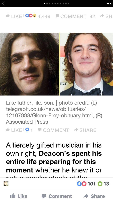 Deacon, and his Dad   Glenn frey, Eagles take it easy, Eagles band