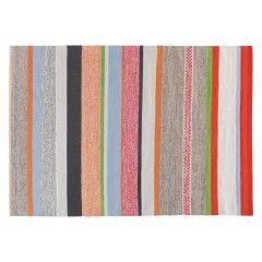 COATES Medium multi-coloured stripe cotton rug 140 x 200cm