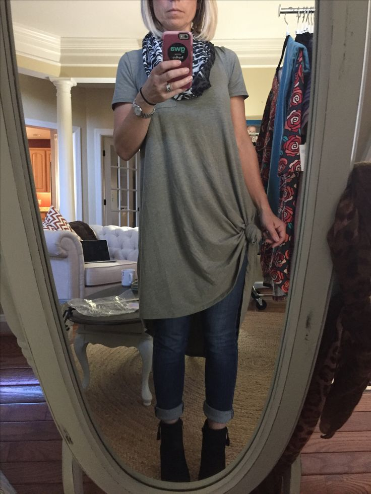 LuLaRoe Carly dress knotted with jeans = ❤️ https://www.facebook.com/groups/160931400992786/