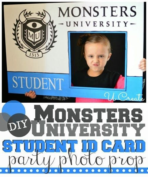 DIY Monsters University Student ID Card Photo prop at u-createcrafts.com