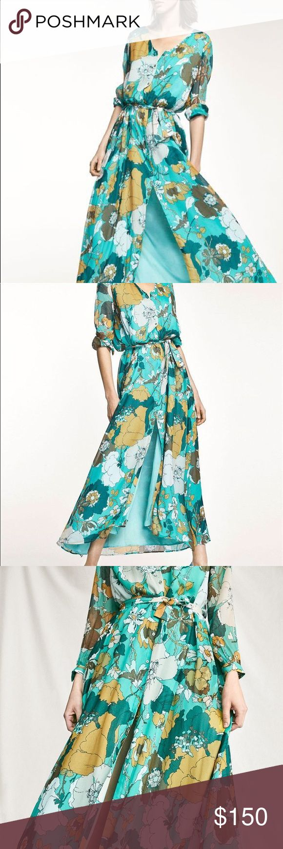 NWT MASSIMO DUTTI TEAL FLORAL PRINT SILK DRESS Floral print button down dress made from 100% mulberry silk fabric. A-line cut, round neck, front button fastening, decorative bow, long sleeves with buttoned cuffs and lining. Massimo Dutti Dresses Midi