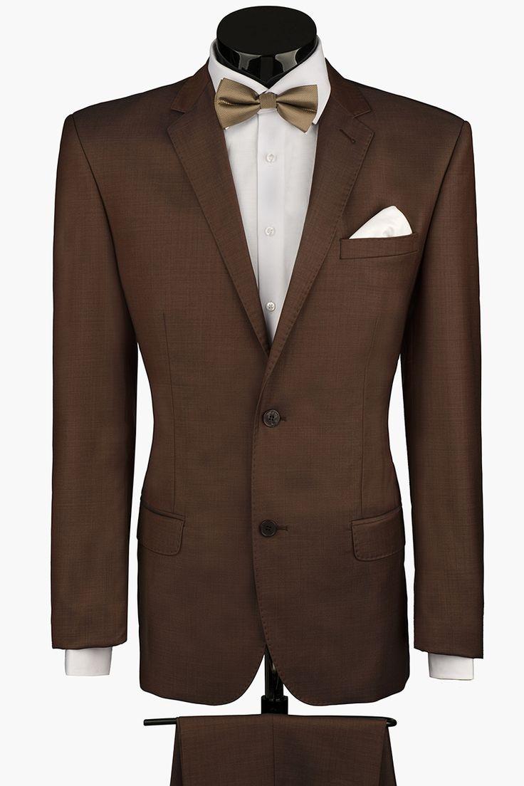 Темно-коричневый мужской костюм PALERMO LUX со вспушкой по воротнику