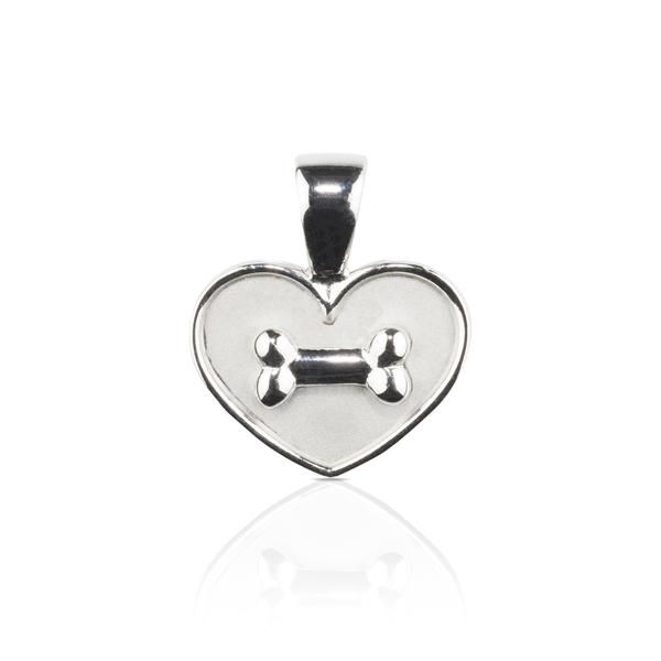 Dog themed Jewellery -  Bone on Heart Sterling Silver Pendant