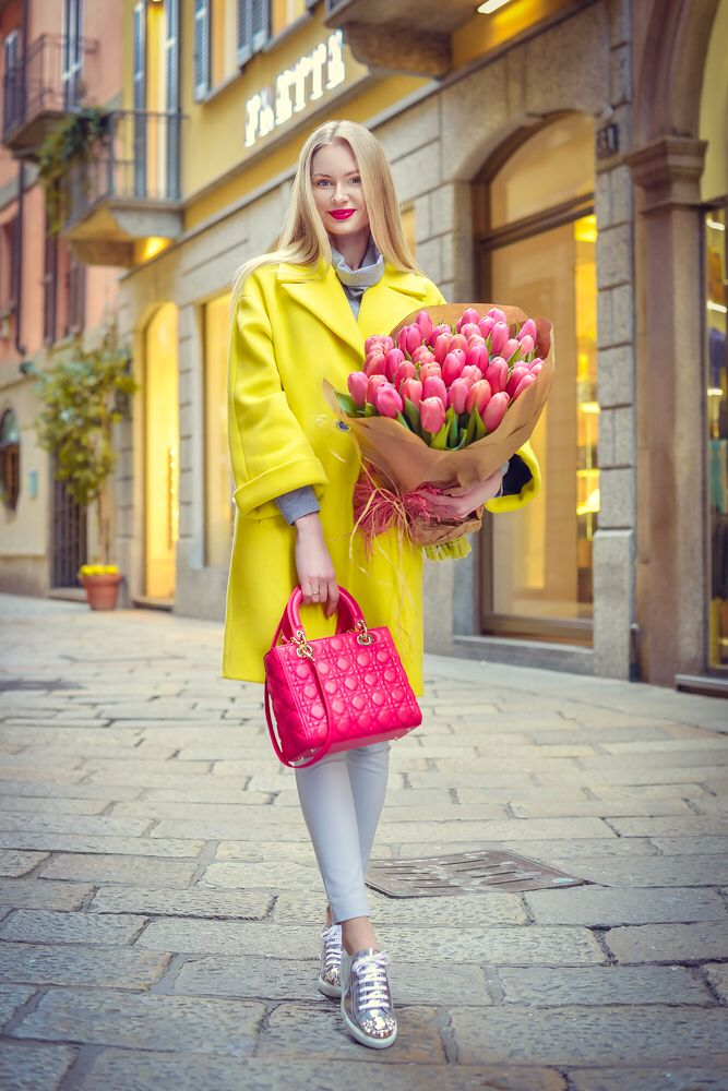 Pink lady Dior Yellow coat Miu miu sneakers  Gyrol Anna