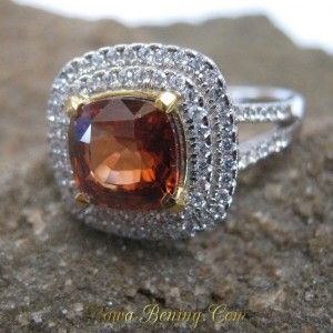 Orange Zircon Silver Ring 8US untuk Foto Model