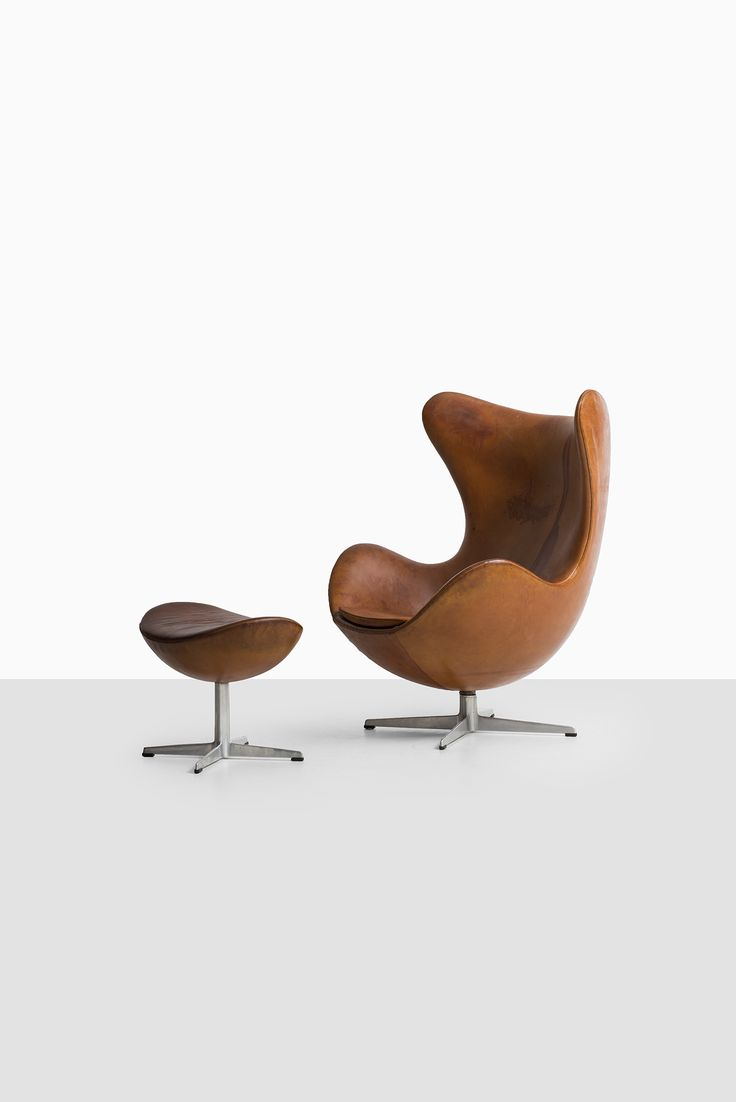 Arne Jacobsen egg chair in cognac brown leather at Studio Schalling