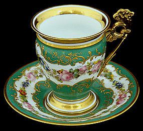 Gorgeous Antique Sevres Chocolate Cup & Saucer:
