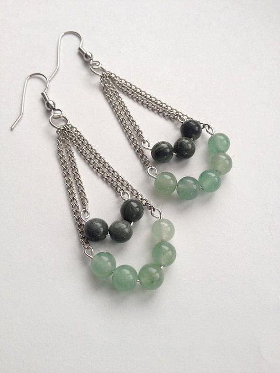 Seaweed Quartz and Green Aventurine Earrings by OliveTreeHandmade, $13.00