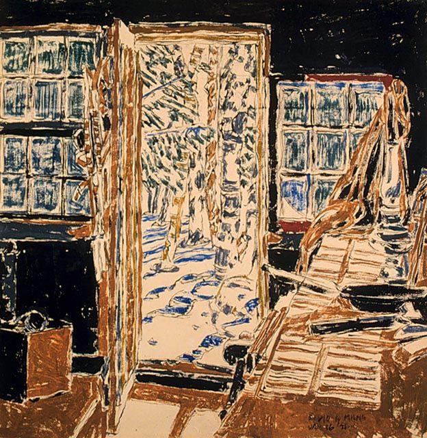 David B. Milne – Doorway of the Painting House, 16 January 1921, watercolour over graphite, 40.9 x 40.9 cm | National Gallery of Canada