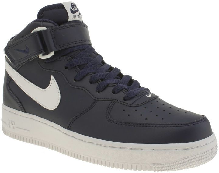Mens Nike Navy & White Air Force 1 Mid Trainers