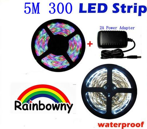 Unusual Items - 5M/roll 300 Leds SMD Waterproof Flexible LED Strip Light(blue/CoolWhite)+ 2A transformer for sale in Johannesburg (ID:198255741)