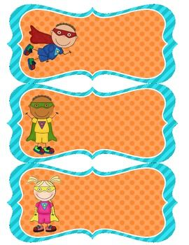 Superhero Name Tags - Blue & Orange