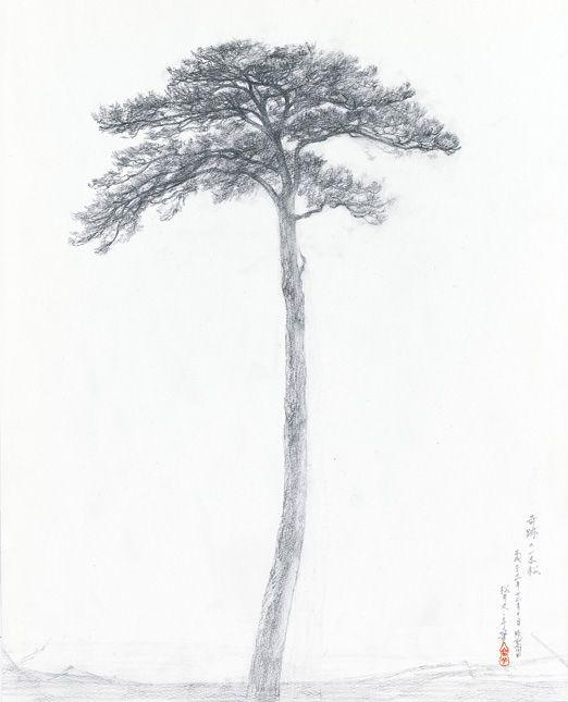 """Tree of Hope"" at Rikuzentakata, Japan drawing by Fuyuko Matsui, Dec 2011 http://www.bijutsu.co.jp/bt/auction/index.html 松井冬子 - 奇跡の一本松"