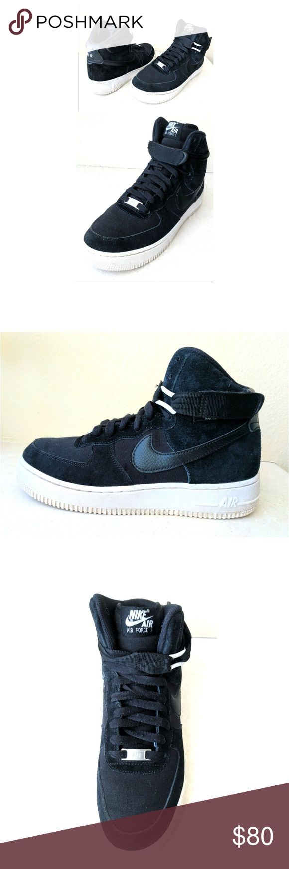 Nike Air Force 1 Suede Black Hi Top Sneakers 6Y These Nike Air Force 1s are HOT. Suede black leather and heavy cotton canvas materials create shoe exterior, leather black Nike logo on side of each shoe. White Nike Air logo tag on back heels and tongue flaps. White rubber side &sole  with full grip. adjustable, removable velcro strap. Silver Nike shoelace tag. Size 6Y, 7.5 women's, u.k. 5.5 EUR 38.5, 24 cm. Dress up or down with skinnies and crop tops, leggings and tees...In GREAT CONDITION…