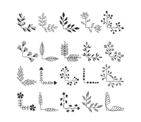 20 floral corners svg. Ornate clip art. Vector, Eps, Png, Dxf, Svg. Cut files.
