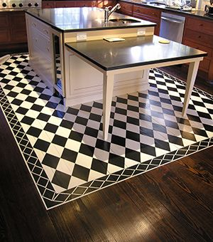 Painted kitchen floor rug  Rocky Bella blog -- Love for Painted Floors