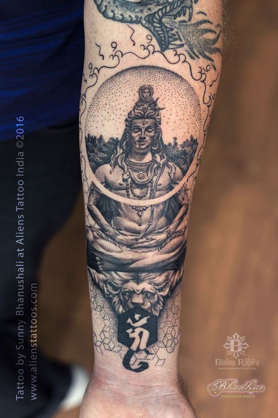 Dotwork Geometrical Shiva Tattoo by Sunny Bhanushali at Aliens Tattoo India.   http://alienstattoos.com/index.php/portfolio/dotwork-geometrical-shiva-tattoo/