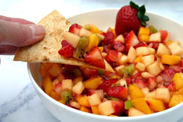 Fruit Salsa with Cinnamon Tortilla Chips combines sweet strawberries, mango, and kiwi with tart apple for just the right mix of sweetness and crunch.