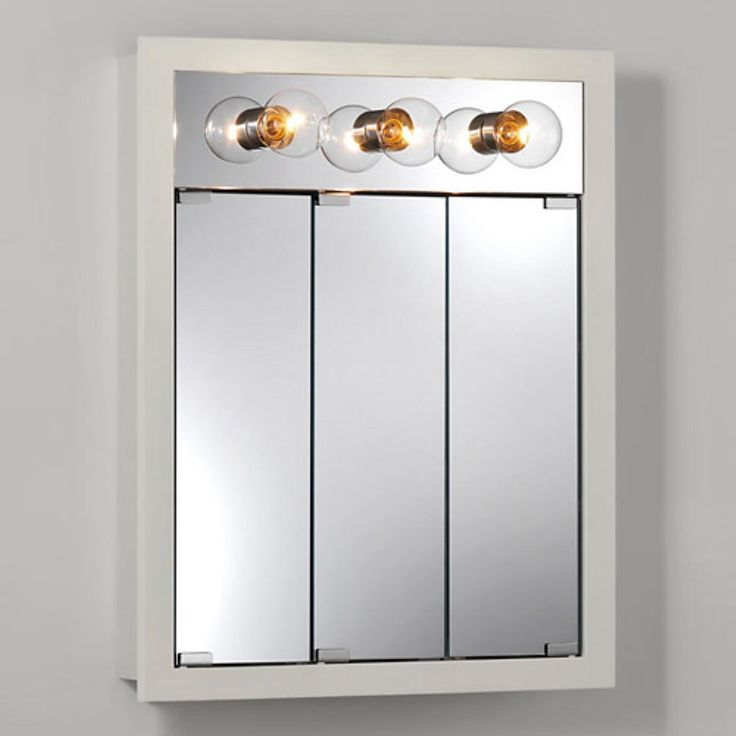 Vanity Light Over Surface Mounted Medicine Cabinet : Jensen Medicine Cabinet Granville Tri-View 3-Light 24Wx30H in. Surface Mount Medicine Cabinet ...