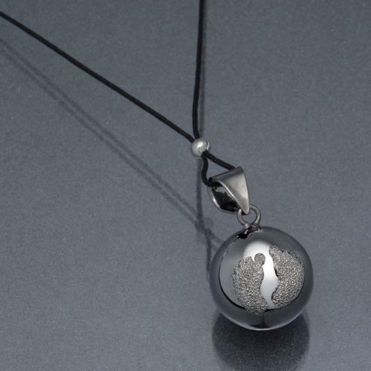 Bola de grossesse - pieds de bébé - diamant - rhodium noir : Mon Premier Doudou, Colliers argent