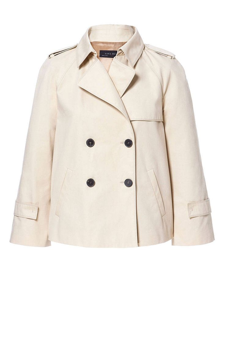"""A wardrobe classic for both men and women, the dependable trench coat is a staple of many a fashion icon and is never more in its element than fighting springtime rain clouds. The traditional tan version is forever on-trend, but more adventurous dressers can play with cut or pattern. Zara Short Trench Coat, $99.90; target=""""new"""">zara.com - ELLE.com"""