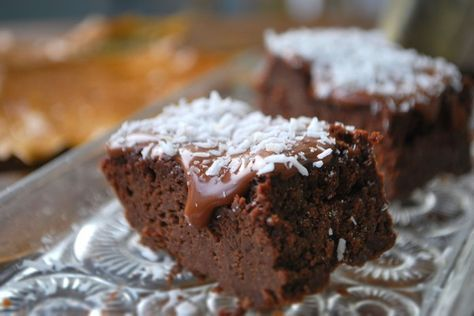 Chocolate Squares a la LCHF. (The Scandinavians have so many terrific recipes! This one's Norwegian.) 1/4 c. butter, 3-3.5 ounces very dark chocolate, 2 eggs, ½ cup heavy cream, 1 ½ tablespoons Truvia, 1/2 t vanilla, 1 t baking soda. Melt butter and chocolate, cool. Beat the eggs and whisk in other ingredients. Line a small baking pan with foil, pour in batter, bake at 350 for 25-35 minutes or until set. Frost or decorate as desired.