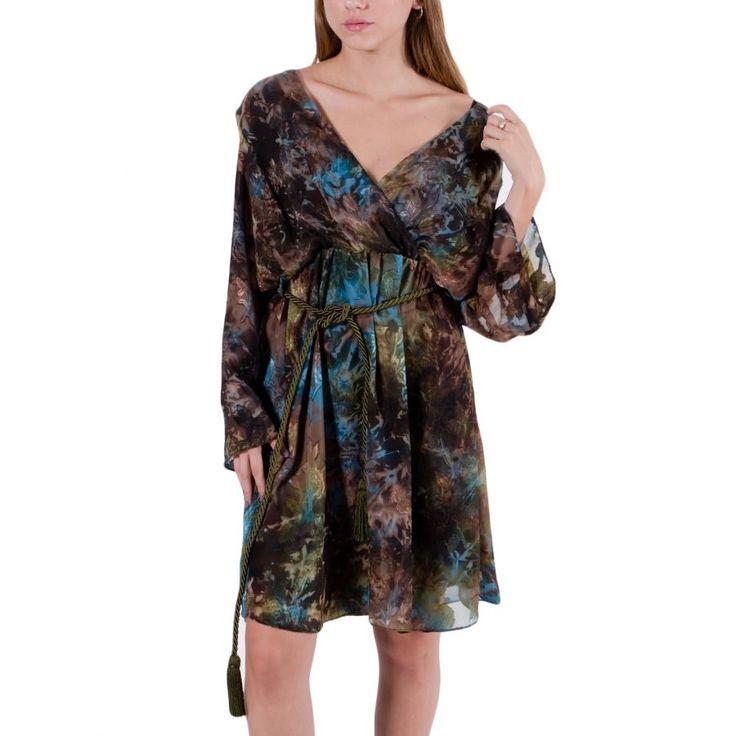 VENER Εμπριμέ μίντι κρουαζέ φόρεμα, αποσπώμενη ζώνη
