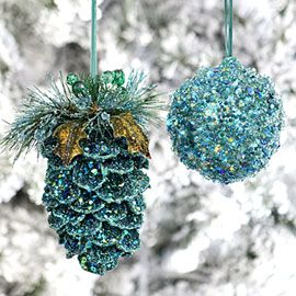 my kids and I made glitter-pinecone ornaments every year.